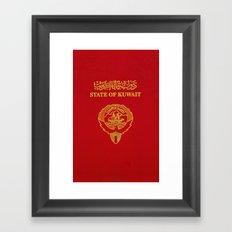 Kuwait PassPort Red Simple Framed Art Print