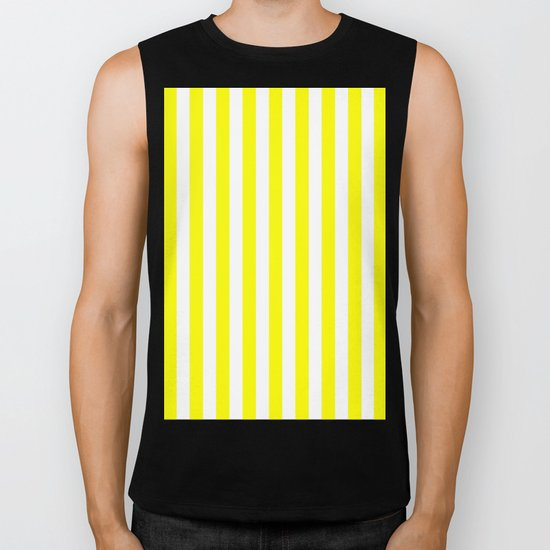 Vertical Stripes (Yellow/White) Biker Tank
