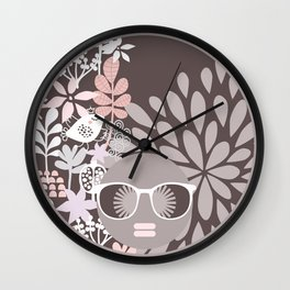 Afro Diva : Sophisticated Lady Pale Pink Peach Beige Wall Clock