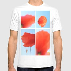Poppies White MEDIUM Mens Fitted Tee