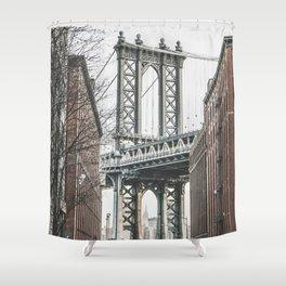 Manhattan bridge from DUMBO, Brooklyn, New York city, Washington Street, Williamsburg photography Shower Curtain