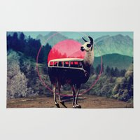 whimsical Area & Throw Rugs featuring Llama by Ali GULEC