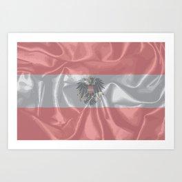 Silk Austrian Flag and Coat of Arms Art Print