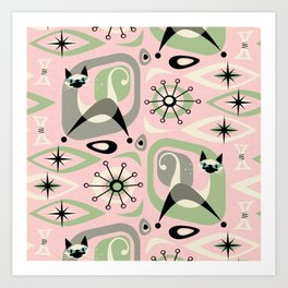 Siamese Cat Abstract on Pink Art Print