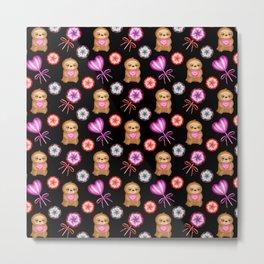 Happy little pink baby sloths, pink hearts. Sweet vintage retro lollipops. Cute nursery pattern. Metal Print