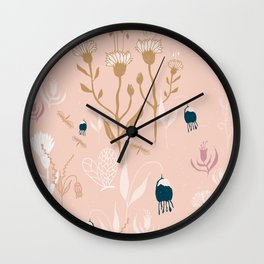 Magic Garden - Pink and Gold Wall Clock