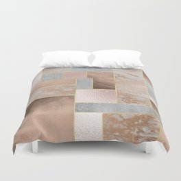 Copper and Blush Rose Gold Marble Quadrangle Geometrical Shapes Duvet Cover
