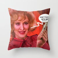 jessica lange Throw Pillows featuring Don't fuck with the Lange by Sabuchan