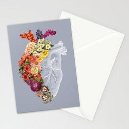 Flower Heart Spring Light Grey Stationery Cards