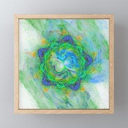 Fantasy fractal flower in green on white Framed Mini Art Print
