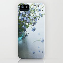 Forget-me-not bouquet in Blue jar iPhone Case
