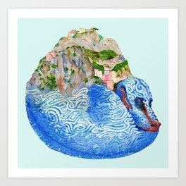 Cinque Terre Landscape Dragon Art Print