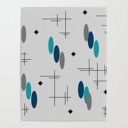 Ovals and Starbursts Teal Poster