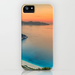 The sunset at the famous beach Myrtos in Kefalonia island, Greece iPhone Case