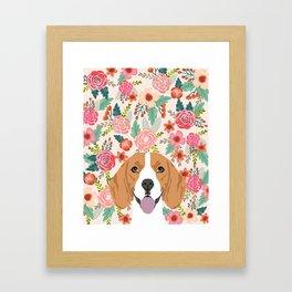 Beagle florals cute spring pet portrait dog lover gift idea beagle owners must haves flower power Framed Art Print