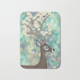 white tailed deer, white breasted nuthatches, & dogwood blossoms Bath Mat