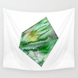 Crystal Green Watercolor Gem Wall Tapestry