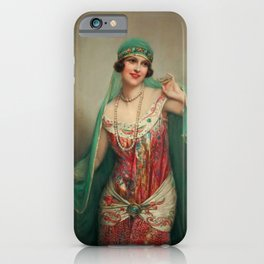 Eastern European Woman with Pearls iPhone Case
