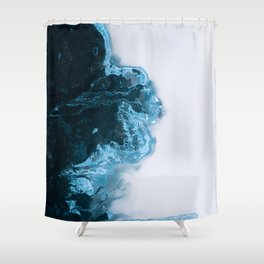 Abstract Aerial Lake in Iceland – Minimalist Landscape Photography Shower Curtain
