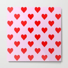 love heart pattern pink and red Metal Print