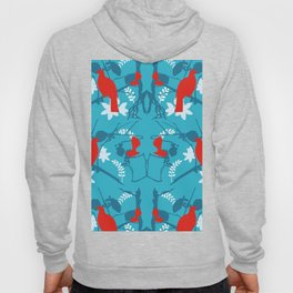 NZ Native Red Kereru (Wood Pigeon) and Fantail on Blue Hoody