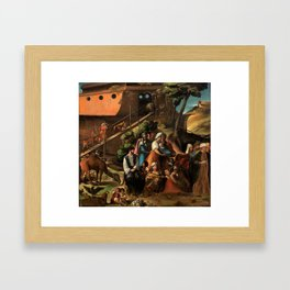 1520 Classical Masterpiece 'Entering into the Ark' by Dosso Dossi Framed Art Print
