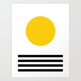 Midcentury Yellow Minimalist Sunset With Black Stripes Art Print