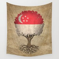 singapore Wall Tapestries featuring Vintage Tree of Life with Flag of Singapore by Jeff Bartels