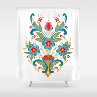 nordic Shower Curtains featuring Nordic Rosemaling by Helen Davison