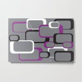 Violet Purple White Black Retro Square Pattern Gray Metal Print