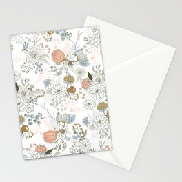 Elegant abstract coral pastel blue modern rustic floral Stationery Cards