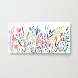 Wild flower border, watercolor hand drawing Metal Print