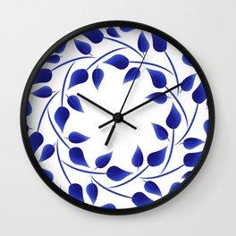 Blue leaf weave Wall Clock