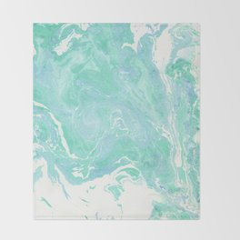 Marble texture background, white blue green marble pattern Throw Blanket