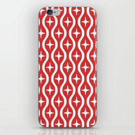 Mid century Modern Bulbous Star Pattern Red iPhone Skin