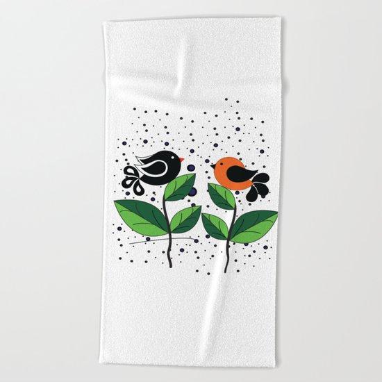 cute bird Beach Towel