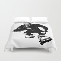 roller derby Duvet Covers featuring Derby King, Derby Kong by Mitt Roshin