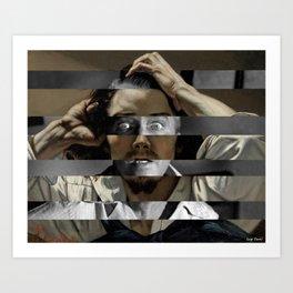 "Gustave Courbet ""The Desperate Man"" Self Portrait & James Stewart in Vertigo Art Print"