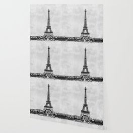 Eiffel tower, Paris France in black and white with painterly effect Wallpaper