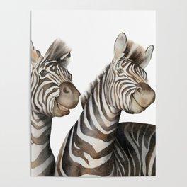 Zebras Watercolor Poster