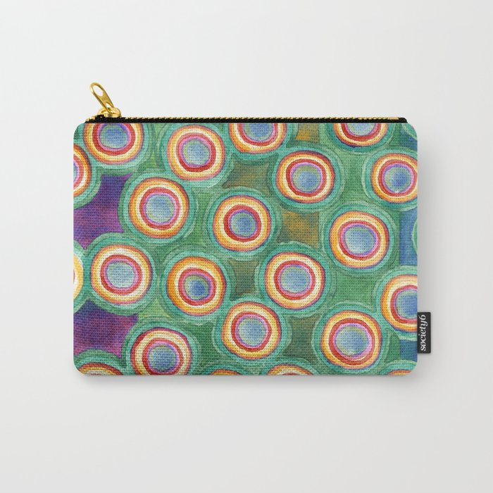 Multicolorful Circles in Front of Horizontal Stripes Carry-All Pouch