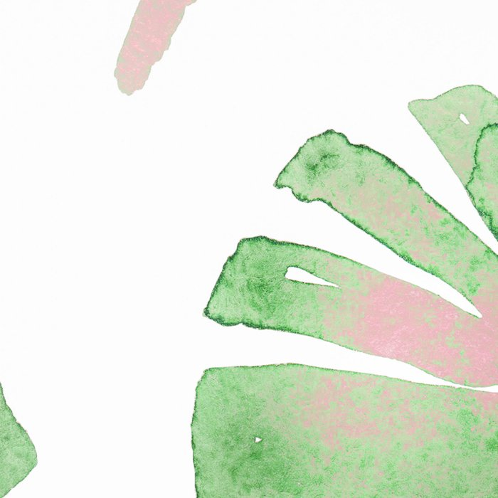 Tropical Leaves Green And Pink Leggings
