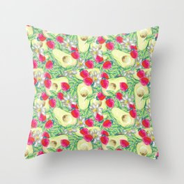 avocado and strawberry pattern Throw Pillow