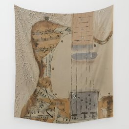 vintage sheet music on electric guitar Wall Tapestry