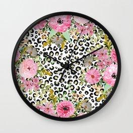 Elegant leopard print and floral design Wall Clock