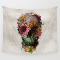 vintage floral Wall Tapestries featuring SKULL 2 by Ali GULEC