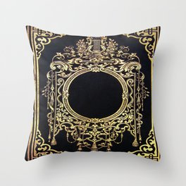 Ornate Gold Frame Book Cover Throw Pillow
