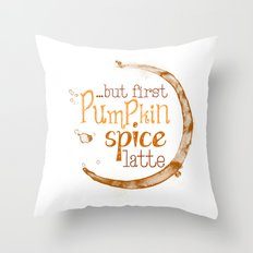 But First Pumpkin Spice Latte - Coffee Ring Throw Pillow