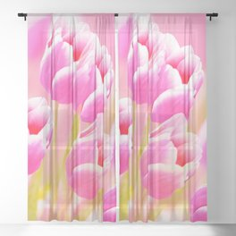 Pink Tulip Flower Bouquet #decor #society6 #buyart Sheer Curtain