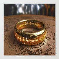 lord of the ring Canvas Prints featuring RING by aztosaha
